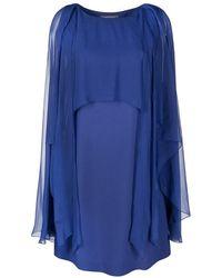 Alberta Ferretti Tulle Cape Midi Dress - Blauw