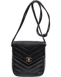 Chanel Vintage Turnlock Pointed Flap - Noir
