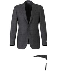 Canali Suit With Prince Of Wales Motif - Grijs