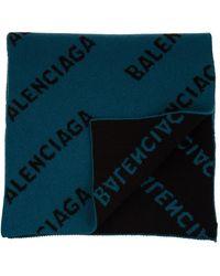 Balenciaga All Over Logo Scarf - Blauw
