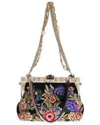 Dolce & Gabbana Vanda Bloemen Crystal Tas - Zwart