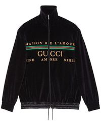 Gucci Oversize Jacket In Embroidered Chenille - Zwart