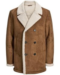 Jack & Jones Double-breasted Shearling Trenchcoat - Bruin