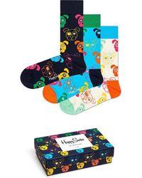 Happy Socks 3-pack Mixed Dog Socks - Blauw