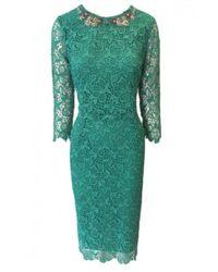 Ermanno Scervino S / S Lace Dress With Stone Neck - Verde