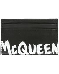 Alexander McQueen Card Holder With Logo - Zwart