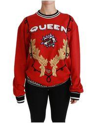 Dolce & Gabbana Queen Lovertjes Liefde Trui - Rood
