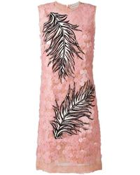 Emilio Pucci Pailette Lace Feather Embroidered Dress - Roze