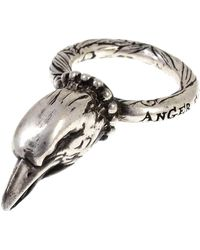 Gucci Anger Forest Eagle Head Ring Metal Sv925 - Gris