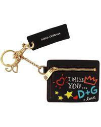 Dolce & Gabbana Gold Keyring Case Coin Wallet Keychain - Zwart