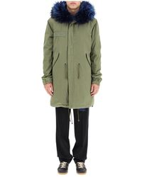 Mr & Mrs Italy Army Long Parka With Coyote Fur And Murmasky - Groen