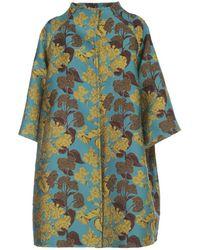 Gianluca Capannolo Monica Trench Coat Brocade - Blauw