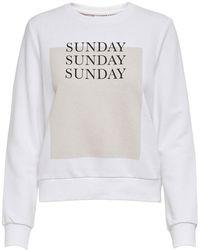 ONLY Onlweekday O-neck Sweatshirt - Wit