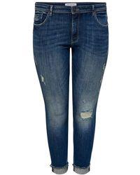 Only Carmakoma Skinny Jeans Curvy Carlise Reg Ankle - Blauw