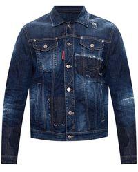 DSquared² Distressed Denim Jacket - Blauw