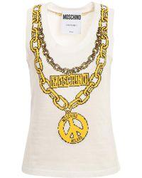 Moschino T-shirt de bijoux - Blanc