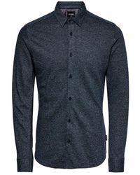Only & Sons Gabriel Knitted Shirt Trellis - Blauw