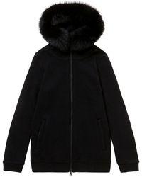 Woolrich W's Wollen Katoenen Hoodie - Zwart