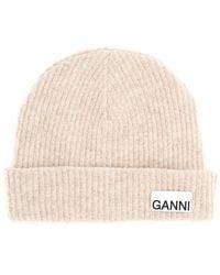 Ganni Beanie Logo - Roze