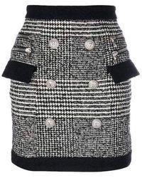 Balmain Houndstooth High-rise Mini Skirt - Zwart
