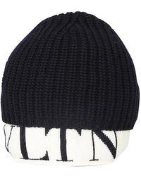 Valentino Valentino Garavani Ribbed Knit Logo-hem Beanie - Zwart