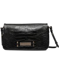 Clio Goldbrenner Comus Croco Effect Leather Clutch Bag - Zwart