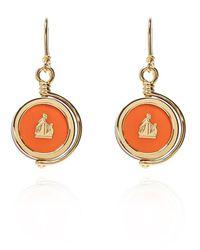 Lanvin Drop Earrings With Logo - Oranje