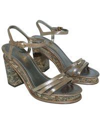 Chanel Vintage Cork Block Heel Sandals Marrón