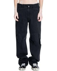 Raf Simons Destroyed Layered Jeans - Zwart