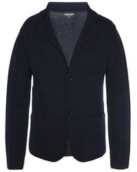Emporio Armani Wool Cardigan - Blauw