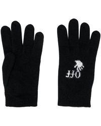 Off-White c/o Virgil Abloh Intarsia Mesh Gloves - Zwart