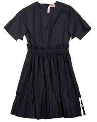 N°21 Short-sleeved Cotton Poplin Dress With Gathered Skirt - Zwart