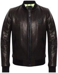 Philipp Plein Leather Jacket With Logo - Zwart