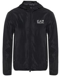 EA7 Logo-printed jacket - Nero