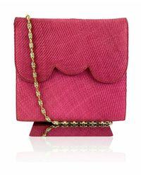 Valentino Garavani Night Vintage Raffia Avondtasje - Roze