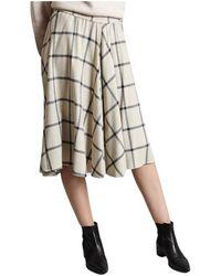 Diega Chequered A-line Skirt - Naturel