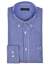 Paul & Shark Striped Shirt, With Pocket And Embroidered Logo - Blauw