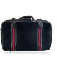 Gucci Stripes Sac de voyage valise - Bleu