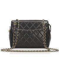 Chanel Matelasse Lambskin Leather Shoulder Bag - Zwart