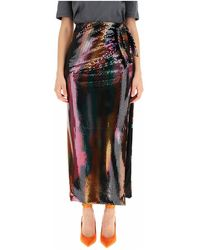 The Attico Long Sequined Skirt - Zwart