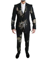 Dolce & Gabbana Gestreepte Bloemen 3 Piece Sicilia Suit - Zwart