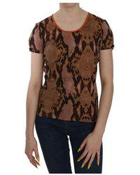 Just Cavalli Snake Skin Print Short Sleeve Top T-shirt - Marrone
