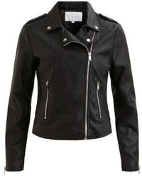 Vila Leather Jacket - Noir