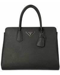 Prada Medium Saffiano Leather Handbag - Zwart