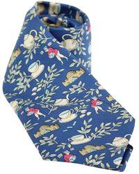 Hermès Cup Of Tea Print Silk Tie - Bleu