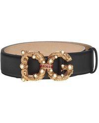 Dolce & Gabbana Decorative Buckle Belt - Zwart