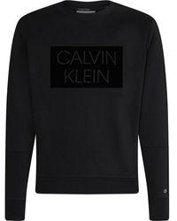 Calvin Klein Flock BOX Logo Sweatshirt - Noir