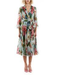 Dolce & Gabbana Floral Chiffon Dress - Blauw