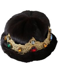 Dolce & Gabbana Mink Fur Beanie Crystal Crown - Bruin