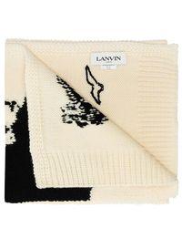 Lanvin Patterned wool scarf - Neutre